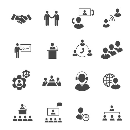 Illustration pour Business people online meeting strategic pictograms set of presentation online conference and teamwork isolated vector illustration - image libre de droit