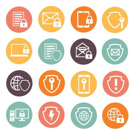 Ilustración de Business data protection technology  and cloud network security icons set  vector illustration. white silhouette - Imagen libre de derechos