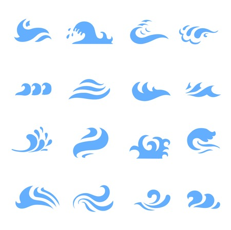 Ilustración de illustration of set of wave symbol on  isolated white background - Imagen libre de derechos
