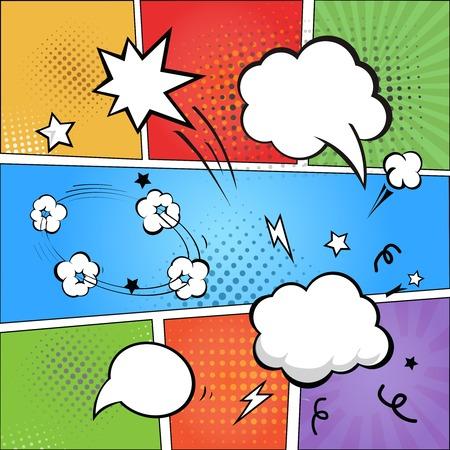 Illustration pour Comic strip  and comic speech   bubbles on colorful halftone background vector illustration - image libre de droit