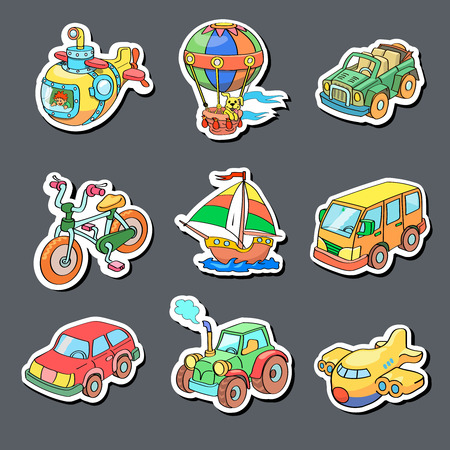 Illustration pour Cartoon collection of Transportation icons - Colored stickers - image libre de droit