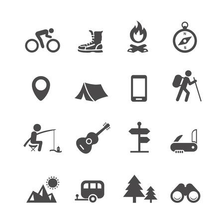 Illustration pour Vector icons forest camping set with compass guitar tent fisherman bonfire knife trailer - image libre de droit