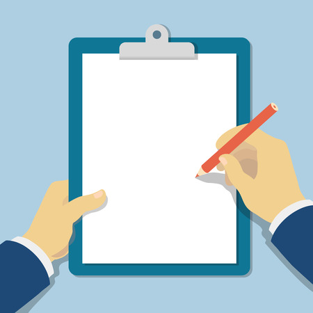 Illustration pour Vector modern flat illustration  hands holding clipboard with empty sheet of paper and pencil - image libre de droit