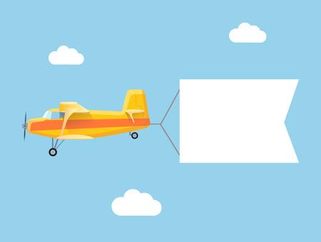 Ilustración de The plane flies with long banners for your text on a background of sky - Imagen libre de derechos