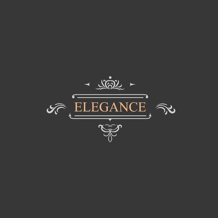 Photo for Vintage retro label and luxury logo, restaurant, hotel, boutique  Heraldic victorian Design with flourishes elegant elements.  Illustration template. - Royalty Free Image