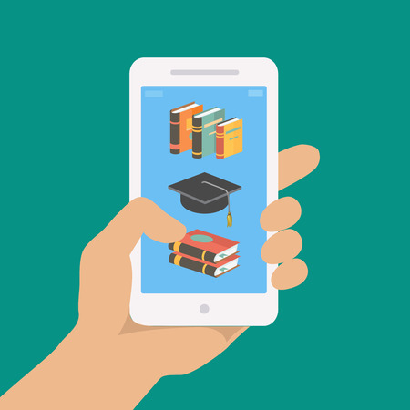 Photo pour Vector online education concept in flat style.  Hand holding mobile phone with educational app in the screen.  Distant e-learning - image libre de droit