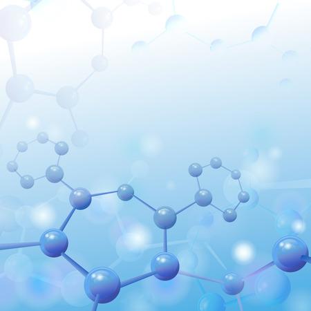 Illustration pour Molecule illustration over blue background with copyspace for your text Life and biology, medicine scientific, molecular research dna. Vector illustration - image libre de droit