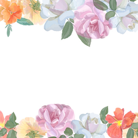 Ilustración de Watercolor greeting card with roses,  for  invitation or wedding, birthday and other holiday and  summer background. Vector - Imagen libre de derechos