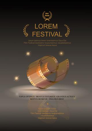 Ilustración de Camera film 35 mm roll gold, festival movie poster, Slide films frame, vector  illustration - Imagen libre de derechos