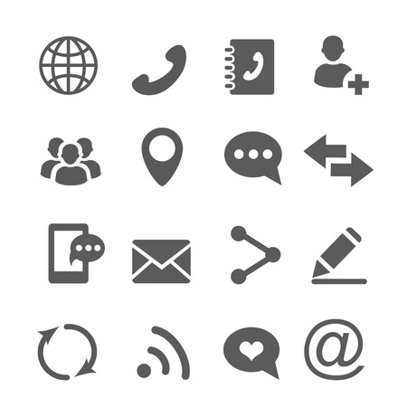 Illustration for Contact communication icons set vector - Royalty Free Image
