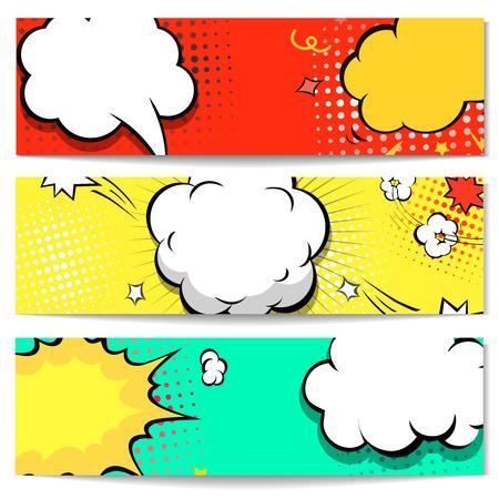 Illustration pour Explosion comic bubble  web header set -  banner comics background.  Vector illustration - image libre de droit