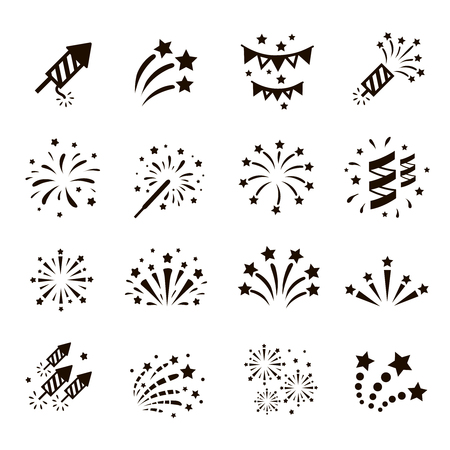 Illustration for Firework icon set with petard, stars. Festival and event, celebrate and party. Vector - Royalty Free Image