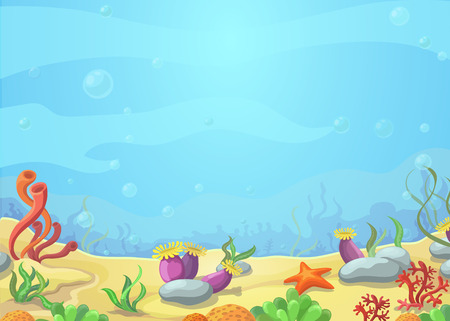 Ilustración de Underwater cartoon world - blue sea landscape, starfish, vector illustration - Imagen libre de derechos