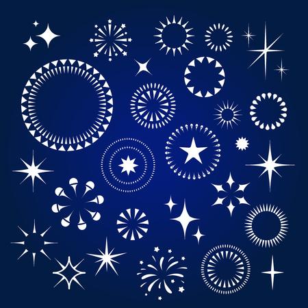 Illustration for Starburst, stars and sparkles burst white  icons set vector - Royalty Free Image