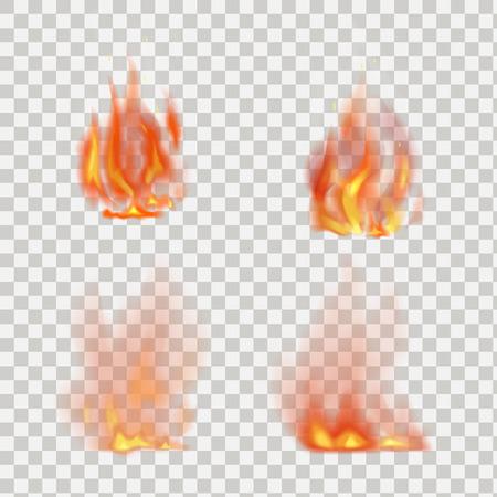 Ilustración de Realistic fire flames vector isolated on transparent background - Imagen libre de derechos