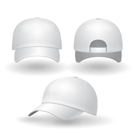 Illustration for Realistic white baseball cap set. Back front and side view isolated on white background illustration - Royalty Free Image