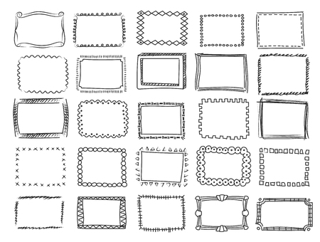 Ilustración de Simple doodle, sketch square vector frames Pencil effect collection and hand drawn borders - Imagen libre de derechos
