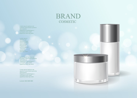 Photo pour Cosmetic blue bottle package design with moisturizer cream or liquid, skin care product poster, sparkling background vector design. - image libre de droit