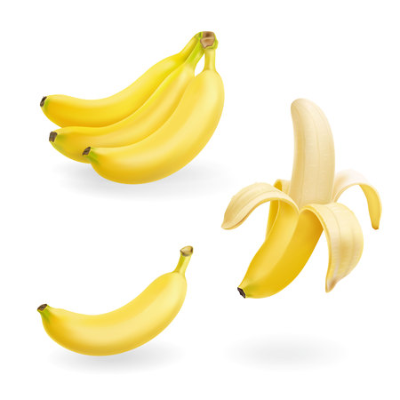 Illustration for Banana fruit set. 3d vector realistic icons illustration - Royalty Free Image