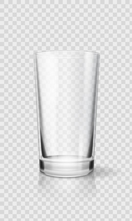 Ilustración de Empty realistic drinking glass cup. Transparent glassware vector illustration - Imagen libre de derechos
