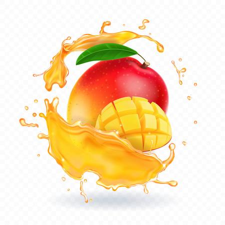 Ilustración de A splash of juice with mango and ripe mango slices. Vector realistic illustration - Imagen libre de derechos