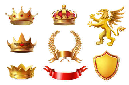 Illustration for Royal golden king crowns set, laurel wreaths and ribbon Awards collection - Royalty Free Image