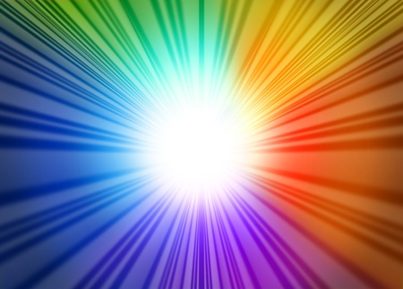 Foto per Rainbow light glow rays represented by a star burst glowing blue green red and purple hues radiating from the center. - Immagine Royalty Free