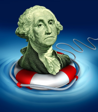 Photo pour Drowning dollar bill symbol featuring the vintage portrait of George Washington with a life preserver in the water saving the downgraded American currency during a dangerous recesion and U.S. economy. - image libre de droit