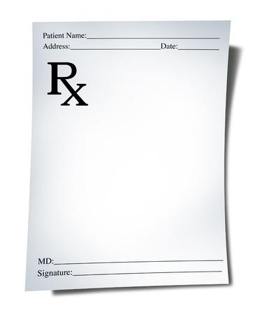 Photo pour Prescription note isolated on a white background representing a doctor - image libre de droit