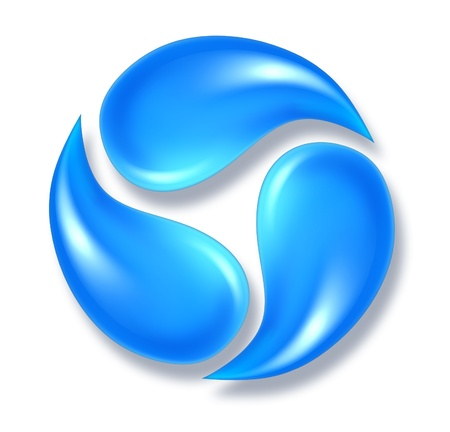 Photo for Water drops icon symbol representing three flowing fresh H2O droplets moving in a round shape. - Royalty Free Image