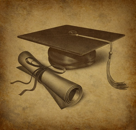 Graduation hat and diploma with vintage grunge texture representing the education concept of acheivement and academic success in university and college.