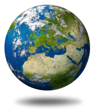 Planet Earth featuring Europe and European union countries including France Germany Italy and England surrounded by blue ocean and clouds isolated on white.