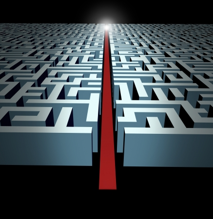 Leadership and strategy through business challenges and obstacles represented by a maze and labyrinth with a clear solution shortcut path opened with a red velvet carpet to lead the way to success and victory.