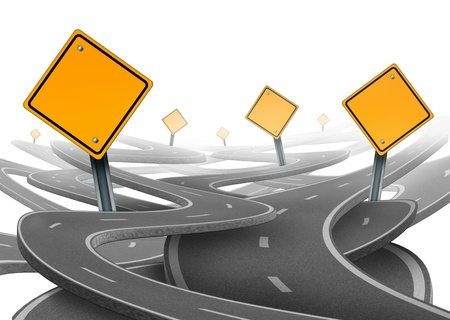 Stay on course symbol  representing dilemma and concept of losing control of onesgoals and strategic journey choosing the right strategic path for business with a blank yellow traffic signs tangled roads and highways in a confused direction.
