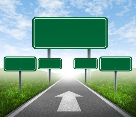Strategy road signs on a highway with green grass and asphalt street representing the concept of management of business assets journey to a focused destination resulting in success and happiness.