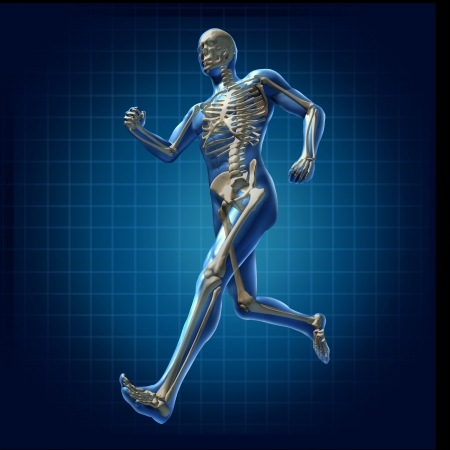 Photo pour Human running man skeleton x-ray visual bone health fitness exercise chart symbol - image libre de droit