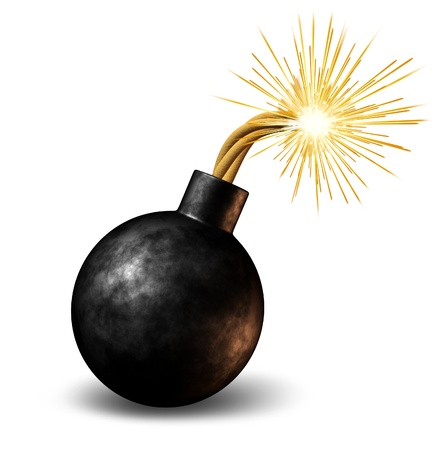 Foto de Bomb with lit burning fuse with fire sparks fealing the heat as a dangerous warning of an urgent deadline with an impending explosion warning on a white background. - Imagen libre de derechos