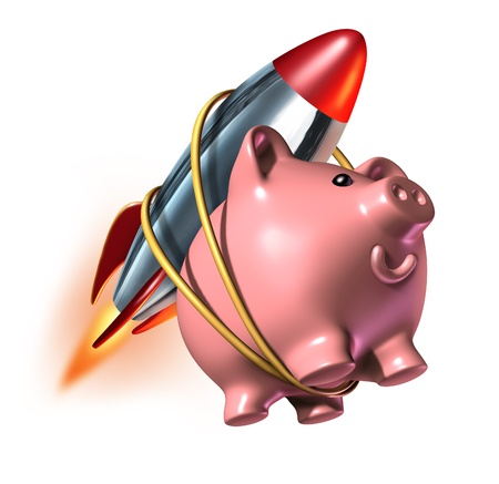 Photo for Higher Savings account piggy bank with a rocket strapped on to its back as a fast rising interest rate in an account and financial success with strong investments growth with quick compound interest. - Royalty Free Image