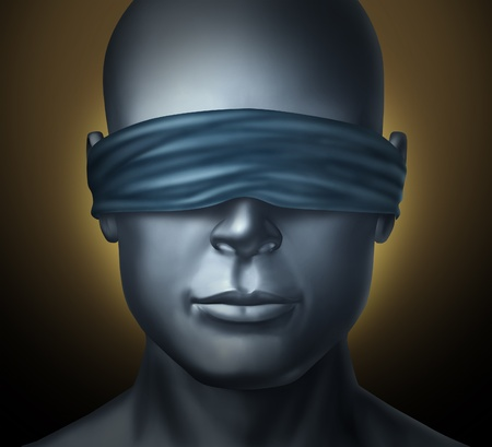 Blindfolded concept with a human head with a blindfold as a symbol of honesty and being a neutral judge with trust and blind justice or living with solitude fear and loneliness in a dark hodstage situation