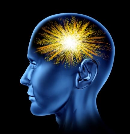 Foto de Spark of creativity with a human head and a firework icon in the brain area as a symbol of creativity  - Imagen libre de derechos