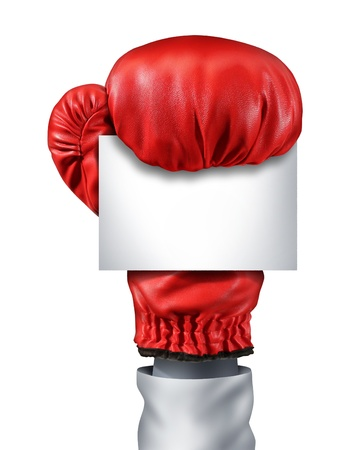 Fight and competition sign with an isolated red boxing glove holding a blank white card