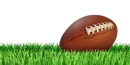 Football ball on a grass field isolated on a white background as a professional or college game sport for traditional American and Canadian play