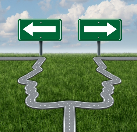Career decision at a cross roads showing a fork in the road in the shape of two human heads as a the concept of a job dilemma choosing the direction to go when facing two equal or similar business options