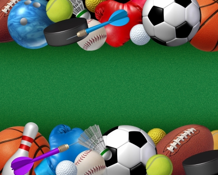 Sports and activities border with equipment from basketball boxing golf bowling tennis badminton football soccer darts ice hockey and baseball as a fitness and health design element on a green textured background