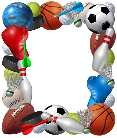 Sports frame with sport equipment from baketball boxing golf bowling tennis badminton football soccer darts ice hockey and baseball as a fitness and health border isolated on a white background