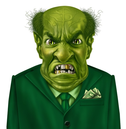 Selfish greed as a green business boss character with a suit and dollar sign on his forehead representing the concept of selfishness and greedy financial behavior