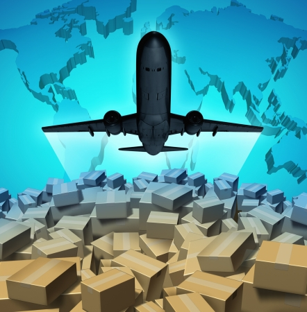 Air cargo shipping concept with an airplane flying above a large group of mail courier packages on a three dimensional map of the world as a global overseas transportation symbol