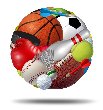 Photo for Sports ball as a sphere made with an organized group of sport equipment as football basketball hockey golf soccer bowling tennis badminton football baseball darts and boxing on a white background  - Royalty Free Image