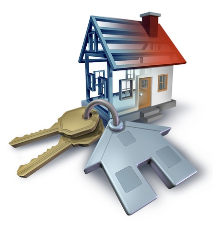 Real estate planning and building a home from blue print plans with house keys and a three dimensional residential structure on a white background