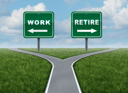 Work or retire as a concept of a difficult decision time for working or retirement as a cross roads and road sign with arrows showing a fork in the road representing the concept of direction when facing a challenging life choice